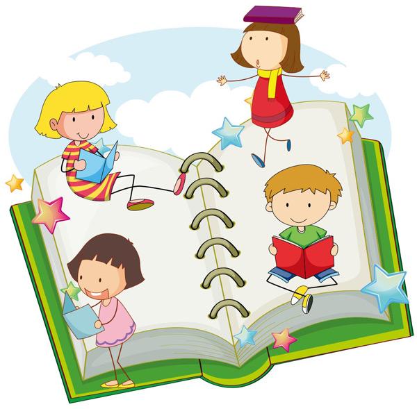 白云,绿色,书本,翻开,笔记本,儿童,男孩,女孩,看书,学习,教育,可爱