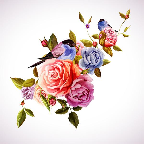 手绘水彩花束