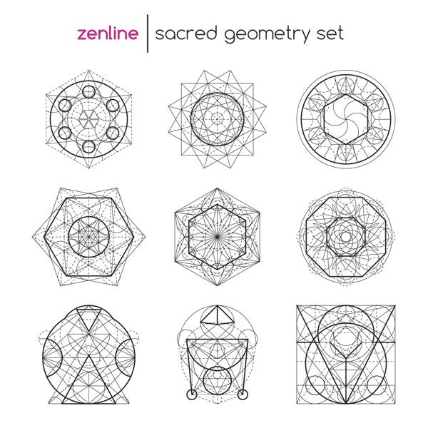图形,插图,标签,符号,几何图标,时尚,神秘,科学,六角形,重叠,深奥