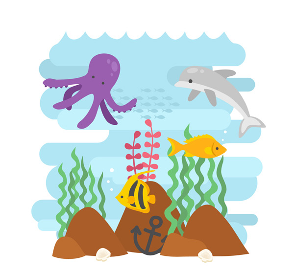 章鱼,海豚,鱼,热带鱼,水彩,船锚,礁石,海底,海洋动物,大海,贝壳,矢量