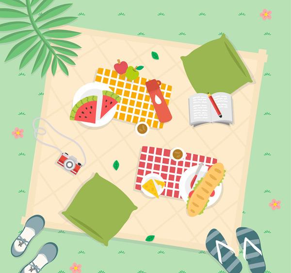 0 点 关键词: 郊外草地野餐俯视图矢量素材,花,棕榈树,西瓜,垫子,鞋