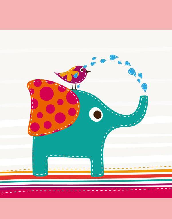儿童插画,简笔画,动物,小象,矢