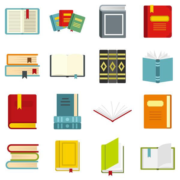 笔记薄,书页码,彩色书本,卡通,学校,图标,标志,平面,书,教育,图书馆