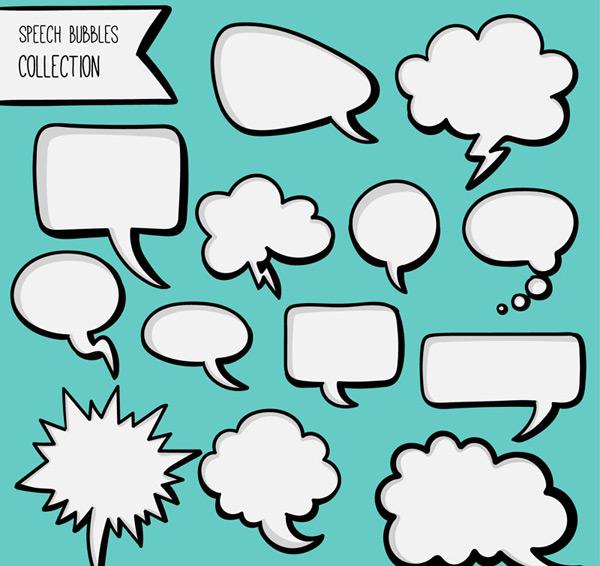 0 点 关键词: 13款空白漫画风格语言气泡矢量图,对话框,漫画,语言