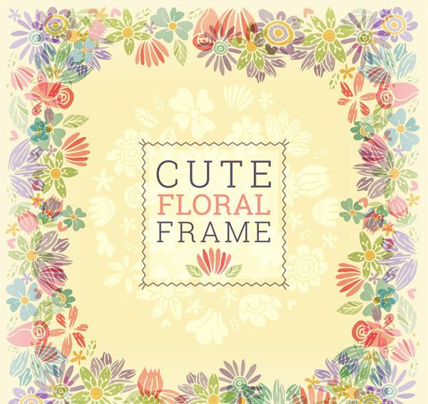 可爱花卉框架