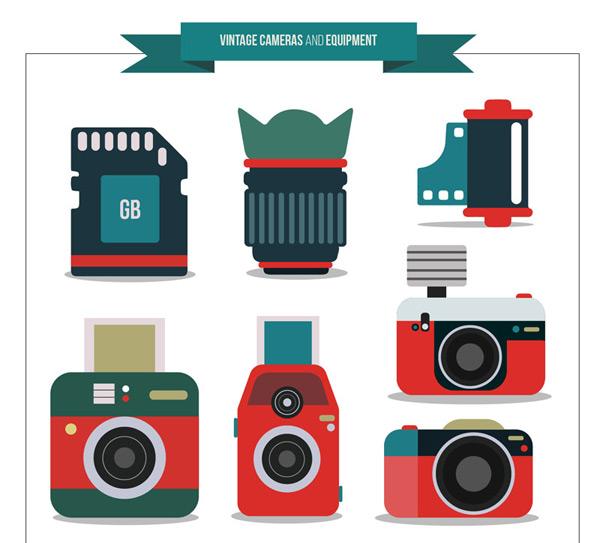 拍立得照相机,照相机,内存卡,镜头,胶卷,摄影,配件,复古相机,矢量图