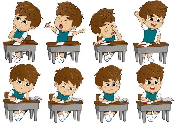 上课的卡通儿童矢量素材,上课,课桌,课堂,学习,小学生,读书,写字,思考,举手,发言,日常生活,卡通儿童,卡通小男孩,小朋友,儿童,幼儿,卡通人物,漫画人物,卡通形象,矢量人物,矢量素材,EPS
