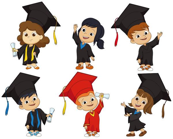 可爱毕业卡通儿童矢量素材,男孩,女孩,博士服,博士帽,毕业证书,毕业,卡通儿童,卡通小男孩,小朋友,儿童,幼儿,卡通人物,漫画人物,卡通形象,矢量人物,矢量素材,EPS
