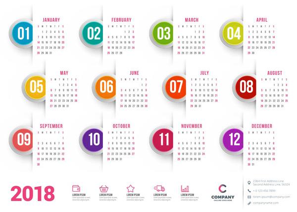 2018年,日历,台历,简约,圆形,时尚,彩色,时间,年历,全年日历,挂历图片