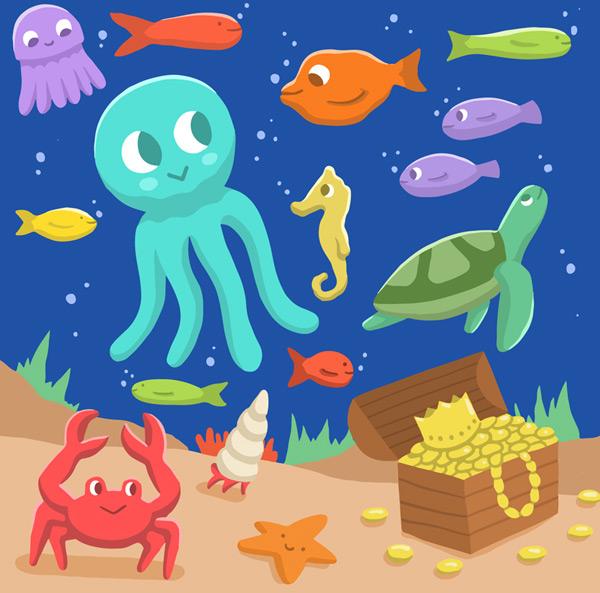 素材分类: 卡通矢量插画所需点数: 0 点 关键词: 卡通海底世界动物和