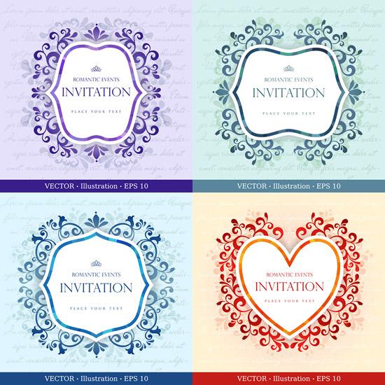 浪漫邀请卡,花纹装饰,花纹边框,欧式花纹,邀请函设计图片素材,免费