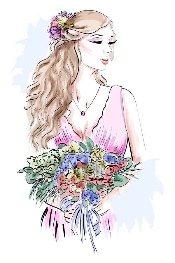 女孩手绘矢量素材,时尚美女,长发美女,捧花,花束,漂亮模特,粉色长裙
