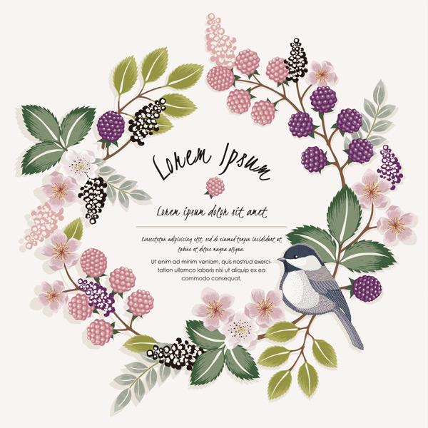 树枝,植物,树叶,枝桠,果实,花朵,花环,小鸟,手绘,动物,装饰,插画,自然