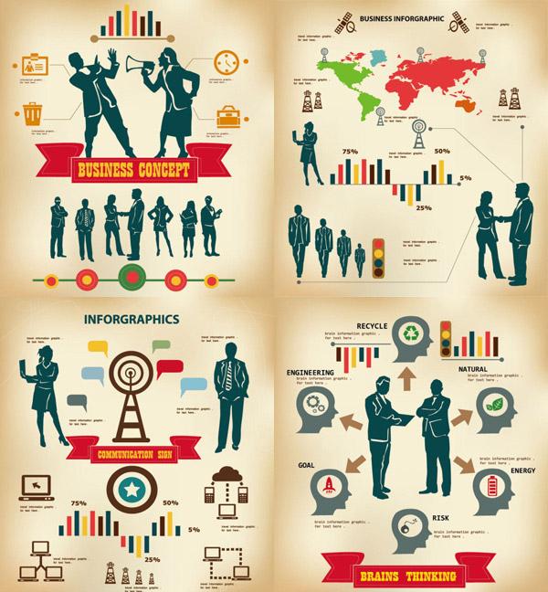 商业信息图矢量素材,商业,数据图,信息图,图表,数据,图标,女人,男人,剪影,标签,丝带,柱状图,循环,图标,叶子,电池,火箭,齿轮,箭头,炸弹,大脑,信号塔,时钟,名片,员工卡,card,垃圾箱,喇叭,柱状图,矢量素材,EPS格式