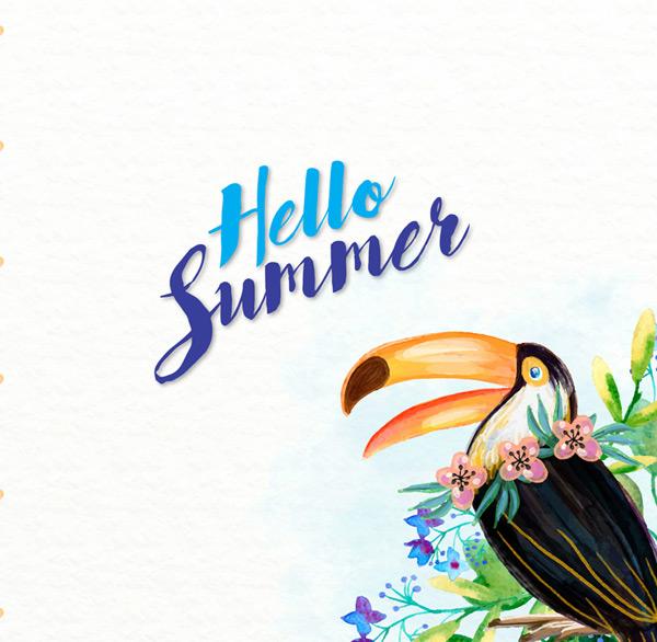 彩绘犀鸟和花卉