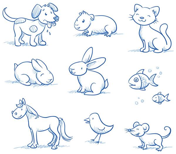 小狗,小猫,兔子,小鱼,马,小鸟,老鼠,手绘动物,线性动物,可爱卡通,宠物
