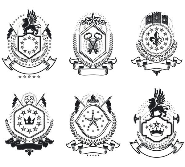欧式黑白徽章