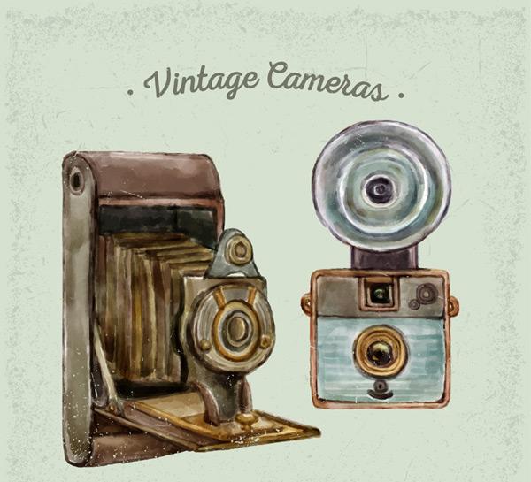 手绘复古照相机
