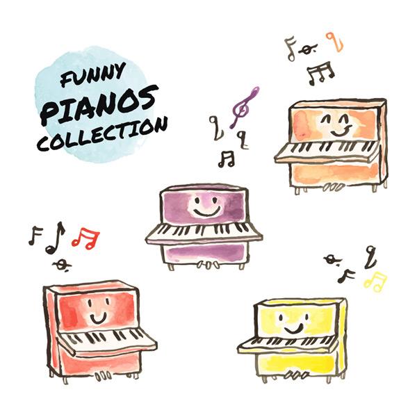 4款可爱卡通彩绘钢琴矢量素材,音符,音乐,表情,笑脸,钢琴,彩绘,可爱
