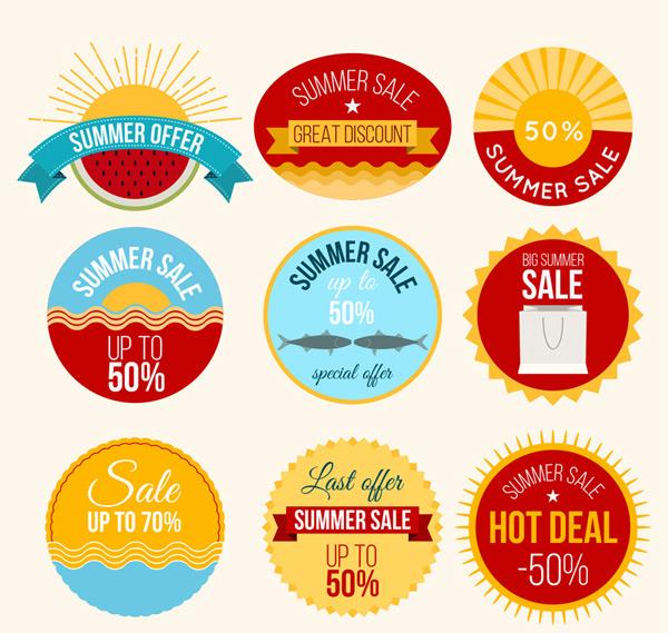 圆形夏季促销标签