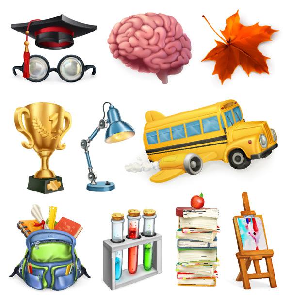 0 点 关键词: 多款卡通儿童学习主题矢量素材,校车,大脑,红树叶,枫叶