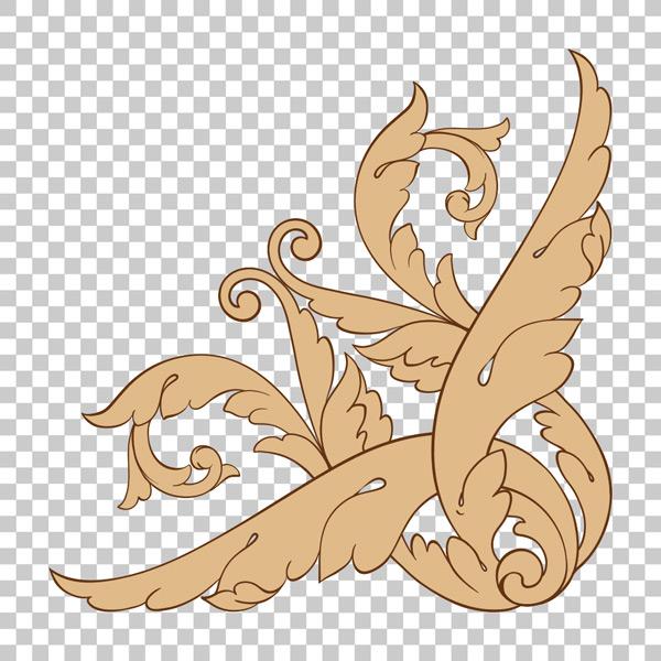 风花纹边框边角装饰矢量素材,蔓藤花纹,巴洛克式,雕刻,边角,装饰,优雅