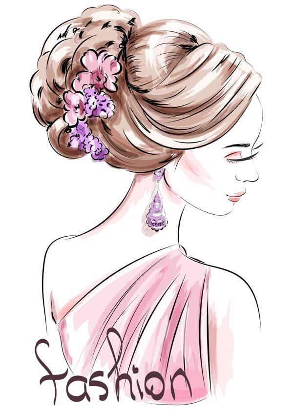 手绘女人与可爱的发型矢量素材,时尚,配饰,美丽的人物,服装,轮廓,侧脸