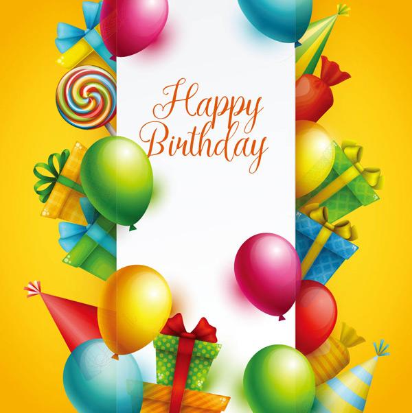 创意多彩节日派对边框背景矢量素材,彩色气球,礼物,棒棒糖,彩旗,礼物