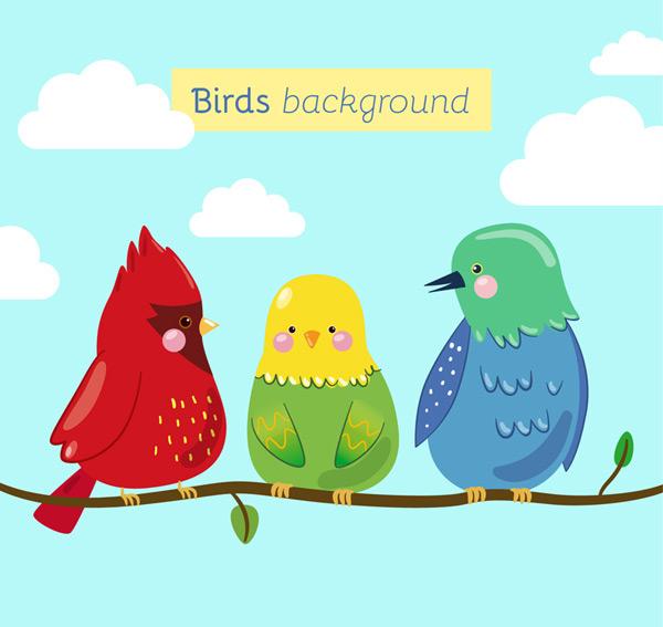 0 点 关键词: 卡通树枝上的三只鸟矢量素材,云朵,天空,树枝,鸟,动物