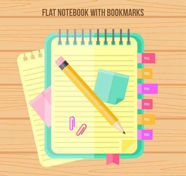 彩色记事本和笔