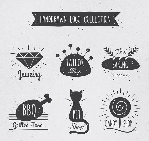 关键词: 6款可爱手绘标志设计矢量素材,裁缝店,宝石,面包店,烧烤食物