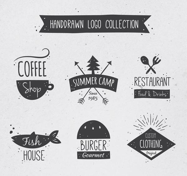 素材分类: 矢量logo图形所需点数: 0 点 关键词: 6款手绘商铺标志矢量
