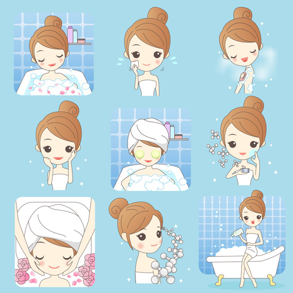 0 点 关键词: 多款卡通女孩个人卫生清洁护理矢量素材,洗脸,搽脸,脸部