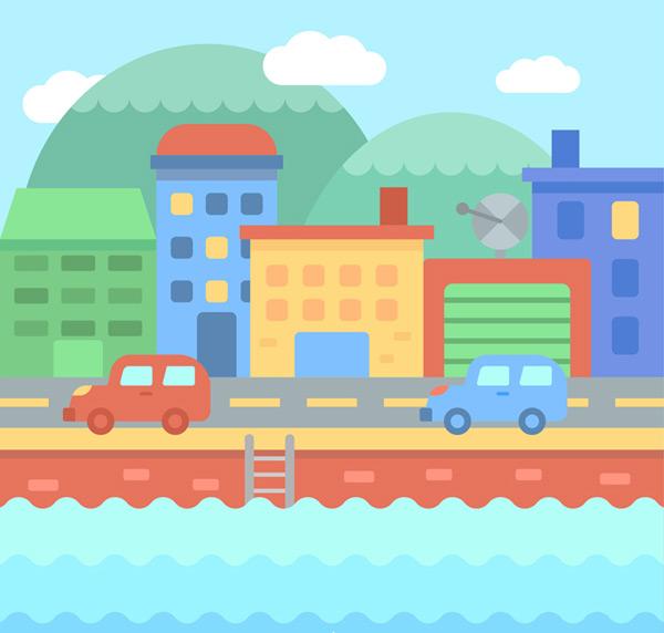 江边城市风景