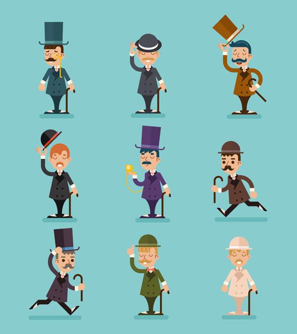 男人,拐杖,图标,人物,西装,图标集,插图,商务,复古,运动,小胡子,可爱