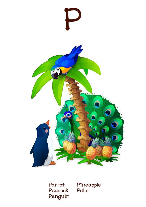 有趣动物字母p矢量素材,教育,字母p,字母表,动物,野生动物,卡通,可爱