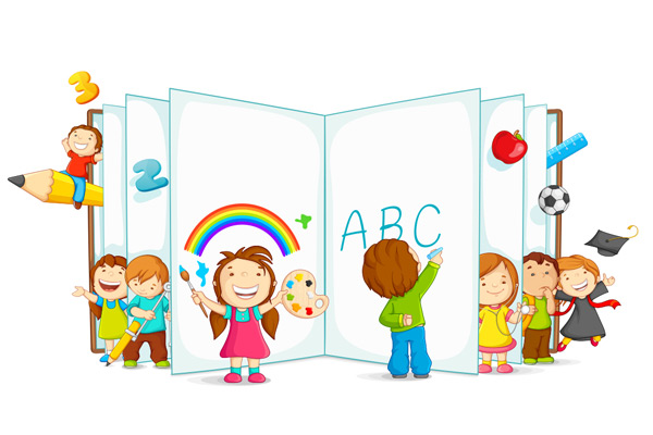 铅笔,数字,彩虹,儿童,孩子,可爱,绘画,写字,学习,读书,卡通,矢量素材