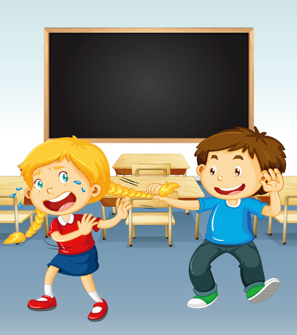 0 点 关键词: 在教室里玩耍打闹的卡通儿童矢量素材,教室,课桌,黑板