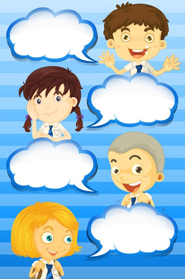 蓝色条纹背景,云朵,边框,对话框,卡通儿童,女孩,男孩,可爱,儿童,矢量