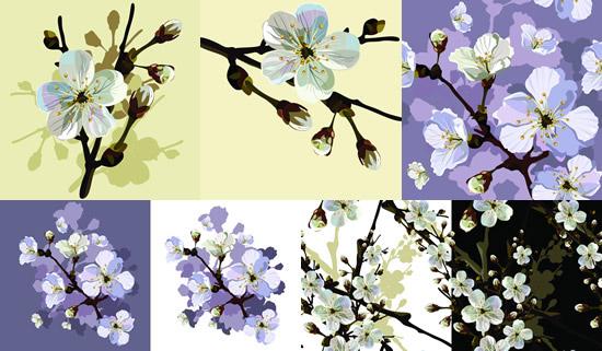 彩绘桃花,树枝,鲜花,花朵,花苞,手绘花卉图片素材,免费桃花eps矢量