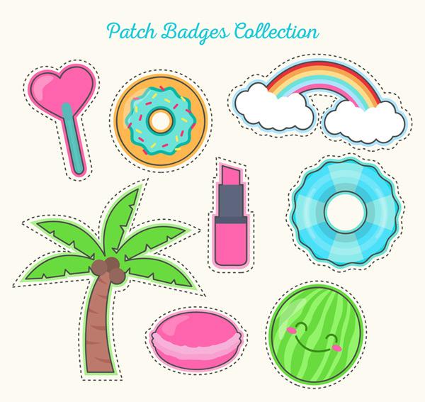 0 点 关键词: 8款彩色补丁徽章矢量素材,爱心,棒棒糖,甜甜圈,彩虹