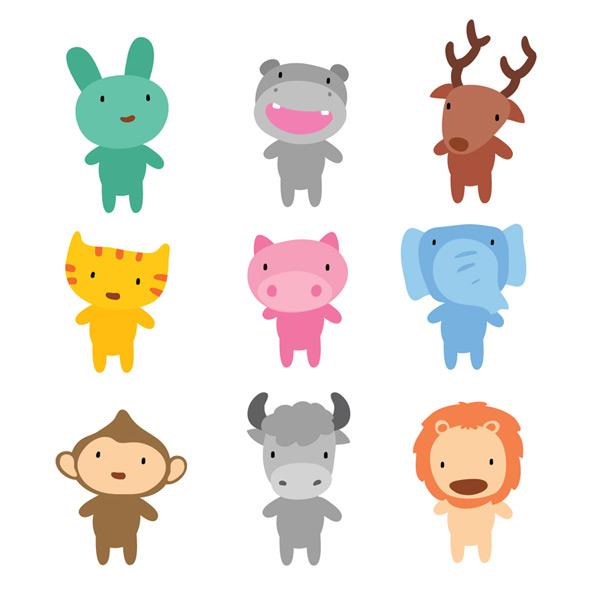 0 点 关键词: 9种可爱卡通小动物矢量素材,兔子,河马,驯鹿,猫,猪