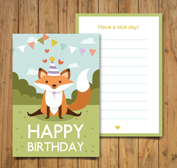狐狸生日邀请卡