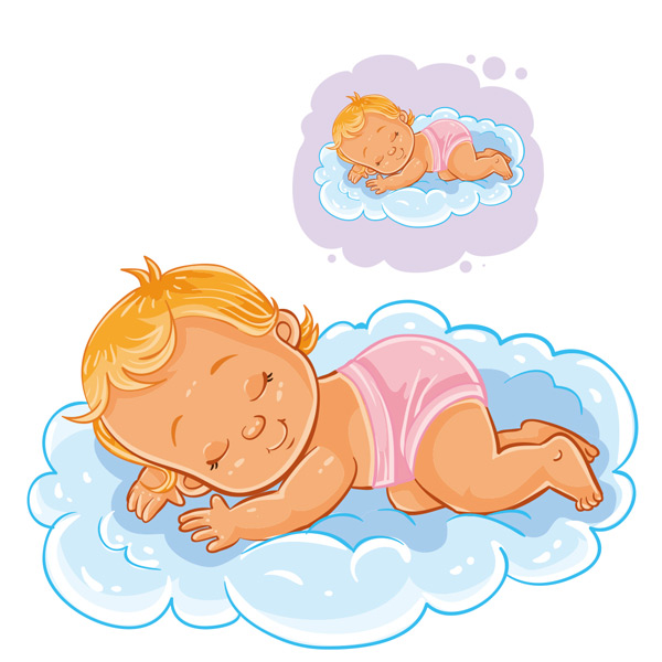 趴在云朵上睡觉的宝宝矢量素材,宝宝,儿童,睡觉,云朵,做梦,可爱,卡通
