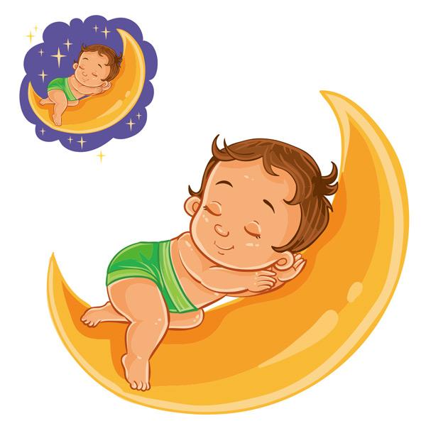 月亮上睡觉的宝宝