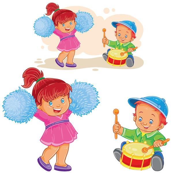 玩耍,益智,跳舞,啦啦队,打鼓,可爱的孩子,小女孩,小男孩,儿童,幼儿园