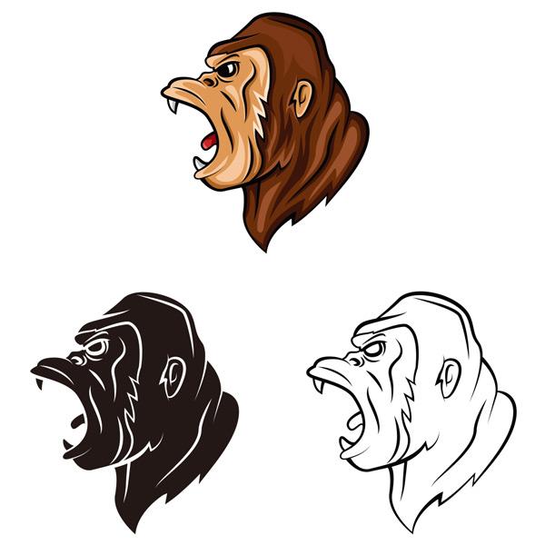 大猩猩,獠牙,凶猛,怒吼,野生动物,头像,绘画,艺术,卡通,图案,图形