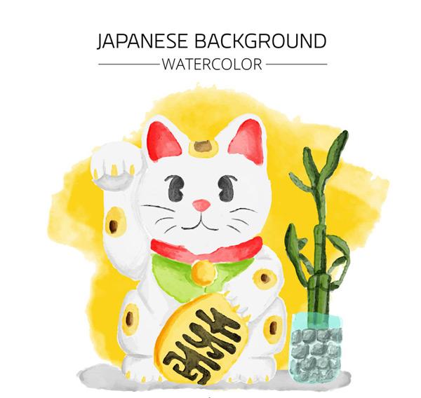 日本招财猫矢量