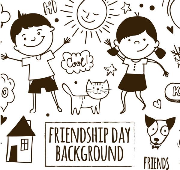 友谊日矢量图
