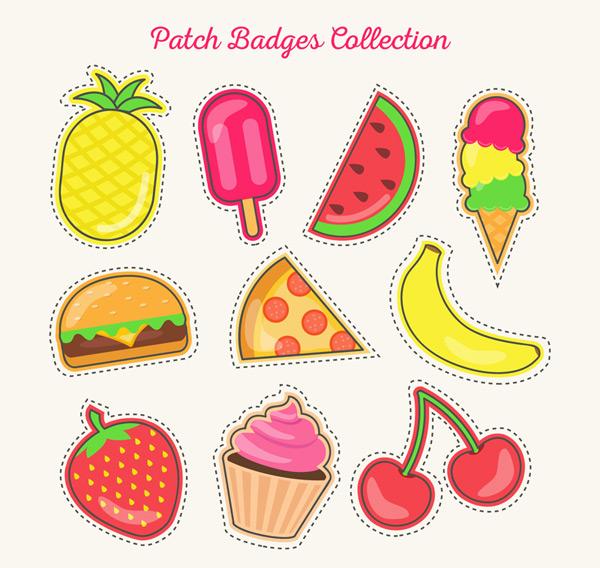 矢量徽章图形所需点数: 0 点 关键词: 10款可爱食物补丁徽章矢量素材